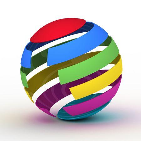 varicoloured: Varicoloured globe on white background, 3D graphics Stock Photo