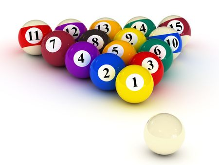 varicoloured billiard balls on white background