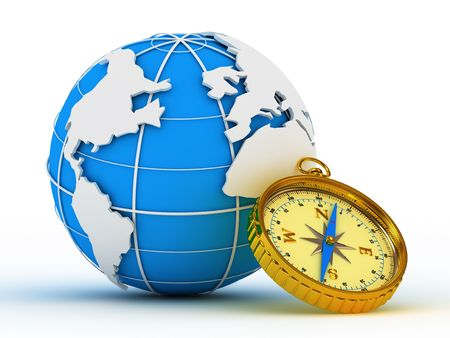 Blue globe and compass on white background, 3D graphics Stock Photo