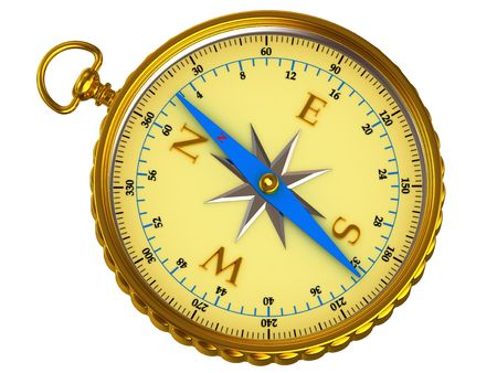 Yellow compass on white background
