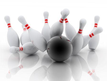frappe: jeu de quilles et blanc ballon noir sur fond blanc Banque d'images