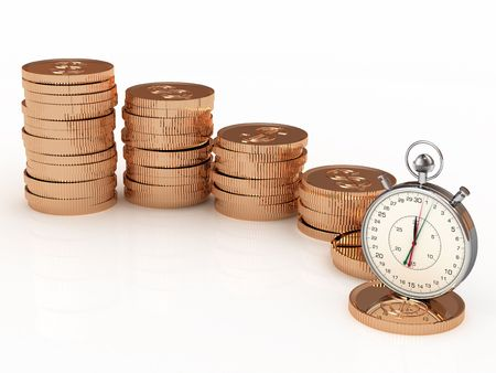 stopwatch and money on white background photo