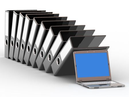 Office files and notebook on white background Stock Photo