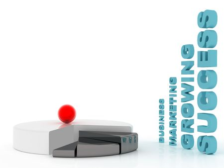 accumulation: Symbol marketing and red ball on white background