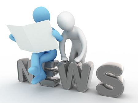 pressman: man reads news in newspaper Stock Photo