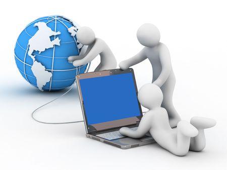 Cable network: mundo, el grupo de personas y bloc de notas sobre fondo blanco Foto de archivo