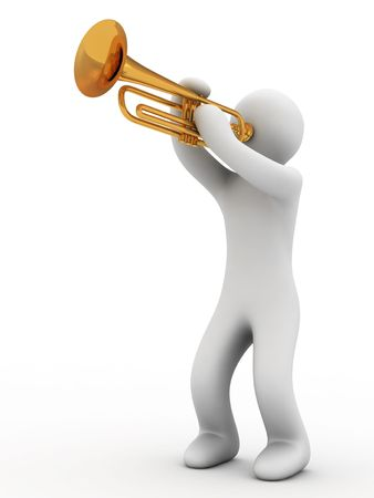 soloist: music instrument and person on white background