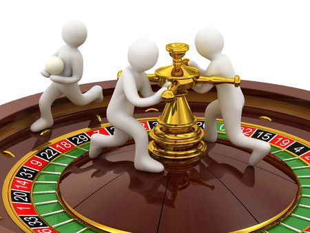 roulette, casino and people on white background