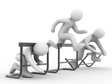 difficulties: barriers, group of the people on white background