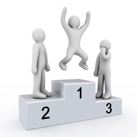 pedestal: pedestal of the winner and people on white background