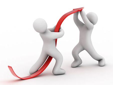 notions: flecha roja y la persona sobre fondo blanco