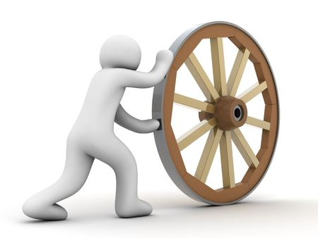 notions: wheel and person on white background