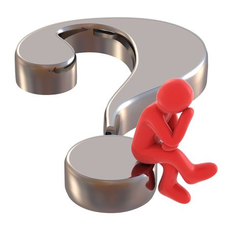 persons speculates on background of the interrogative sign Stock Photo