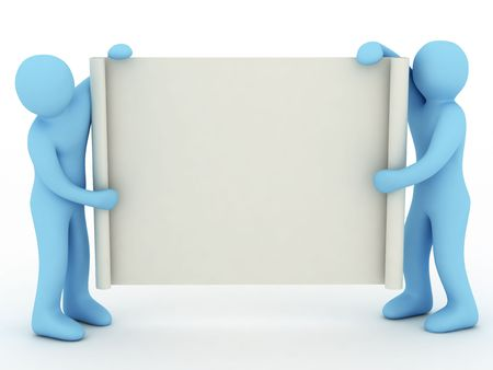 keeps: poster keeps two persons on white background
