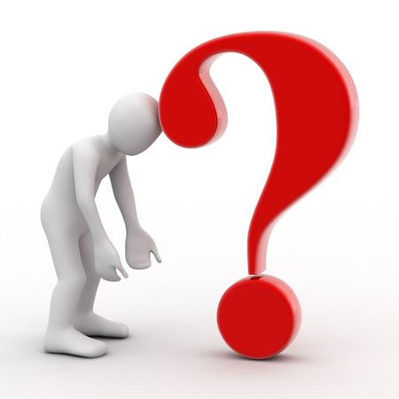 3d person and question mark on white background photo