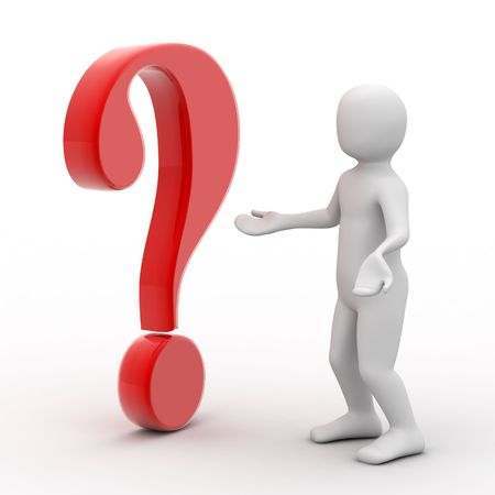 questioning: 3d person and question mark on white background