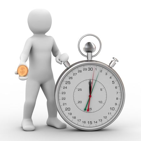 3d person and stopwatch on white background Stock Photo