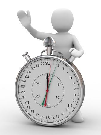 notions: 3d person and stopwatch on white background Stock Photo