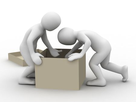 extract: 3d people and cardboard box on white background Stock Photo