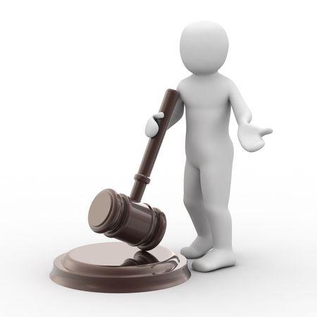 legality: 3d person and gavel on white background