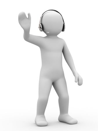 3d person with headset on white background photo