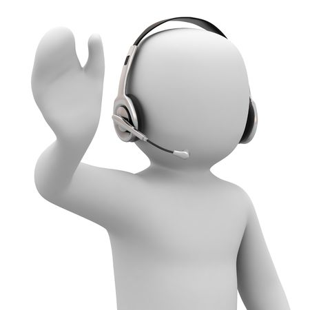 3d person with headset on white background Stock Photo