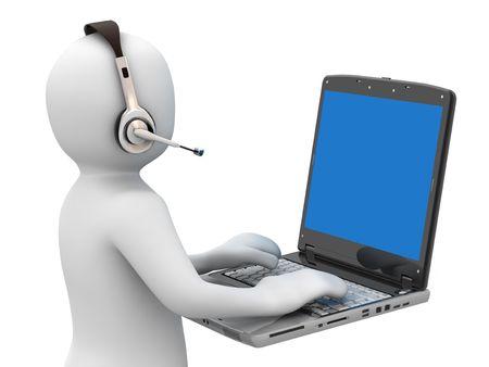 telephone headsets: 3 � persona y bloc de notas en el fondo blanco