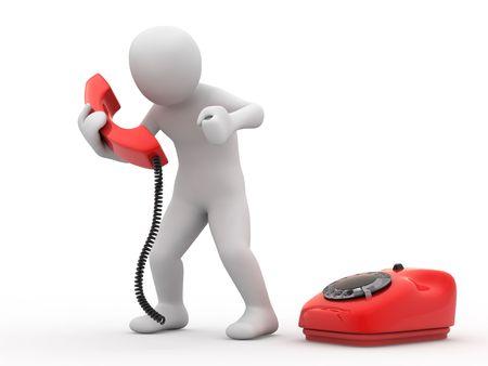 3d person: 3 � persona con tel�fono en el fondo blanco