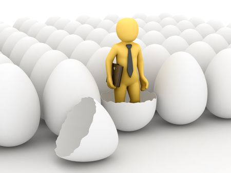 beginner: 3D personage and egg on white background. Stock Photo