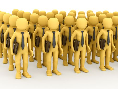 plural: Big group 3D personage on white background.