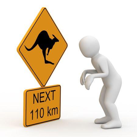 3D personage, symbol kangaroo on white background. Stock Photo - 4169144