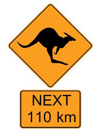 insulate: Symbol kangaroo on yellow background. Stock Photo