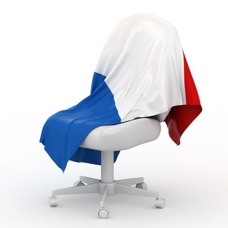 Flag of France on white chair. Stock Photo - 4399309