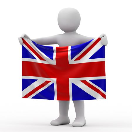 personage: Flag of England and white personage.