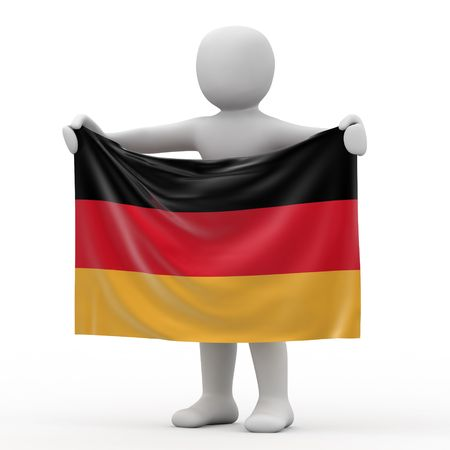 personage: Flag of Germany and white personage. Stock Photo
