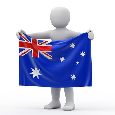personage: Flag of Australia and white personage. Stock Photo
