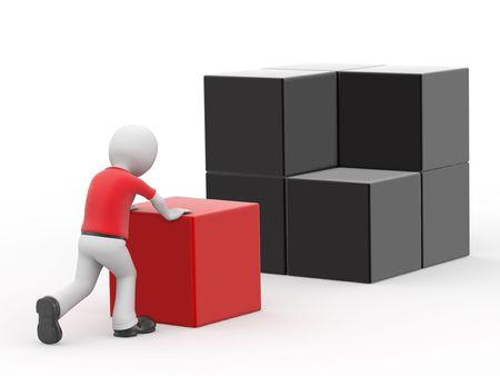 notions: 3d personaje y cubos sobre fondo blanco.