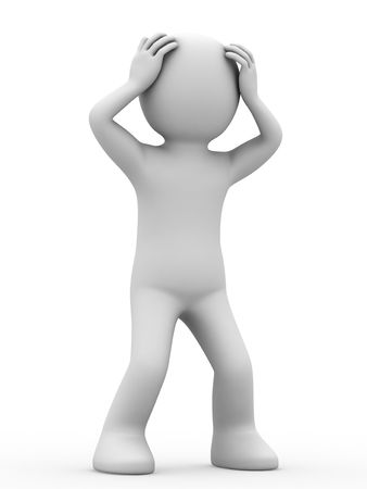 passive: 3d personage on white background. Stock Photo