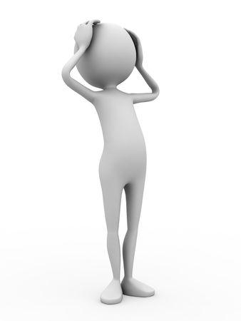 misunderstanding: 3d personage on white background. Stock Photo