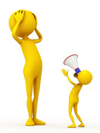 aloud: Two personages and megaphone on white background Stock Photo