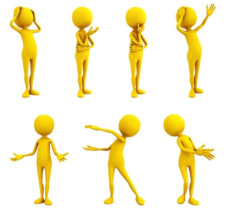applause: Seven yellow personages on white background.