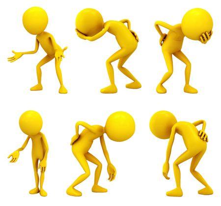 notions: Seis personajes de color amarillo sobre fondo blanco.