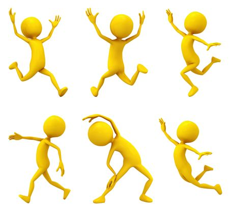 Six active personages on white background. Stock Photo - 5060981