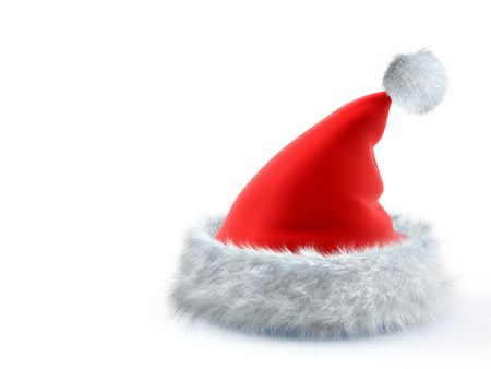 attribute: Red cap Santa Claus on white background Stock Photo