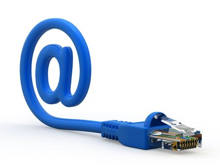 Network cable and symbol email on white background.