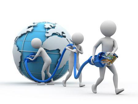 Cable network: Red de cable, el globo y el grupo de personas sobre fondo blanco.