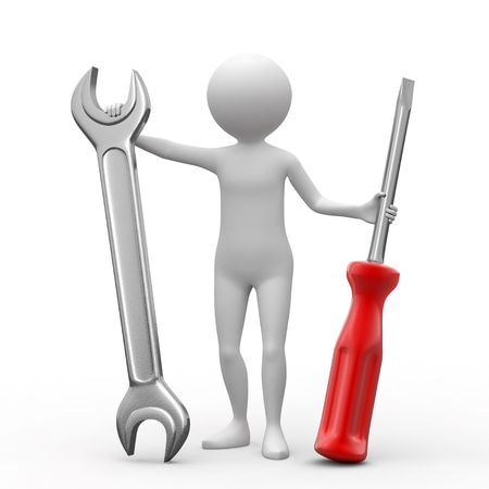 metaphoric: 3D person, spanner and screwdriver on white background. Stock Photo