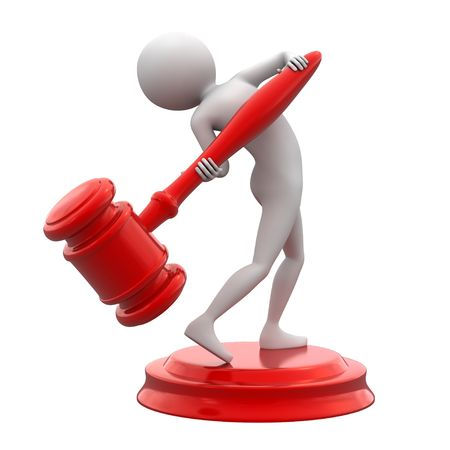 Persons with red gavel on white background. Stock Photo