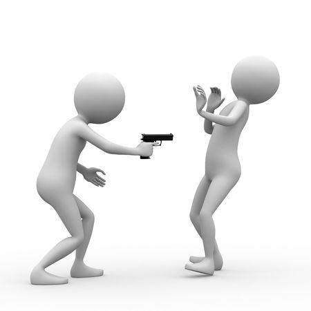 robbery: Criminal and victim on white background. Stock Photo
