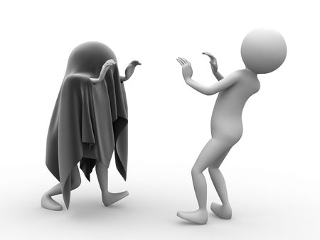 scare: Ghost and afraid person on white background.